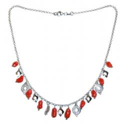 Women's Red Coral and Silver Necklace CR219