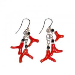 Women's Red Coral Onix and Silver Earrings CR229
