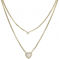 Women's Fossil Necklace Vintage Glitz JF03217710 Heart Mother of Pearl