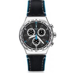 Men's Swatch Watch Irony Chrono Blue Details YVS442 Chronograph